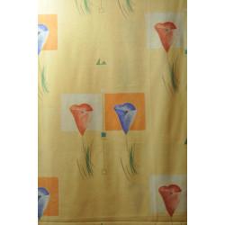 Závěsová látka žlutá s květem