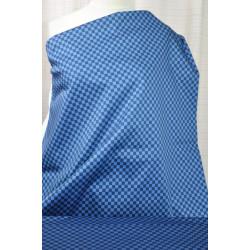 Tenká džínovina modré káro