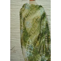 Organza,zelenomodrý vzor