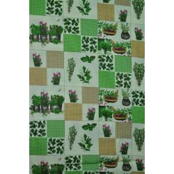 Bavlna patchwork s kytkami