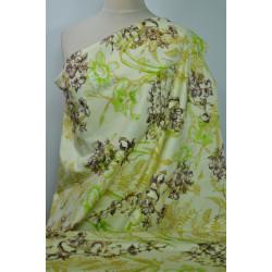 Strečová bavlna žlutá s květy