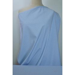 Strečová bavlna modrá kostička