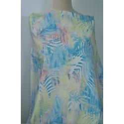 Jeans, barevné tropické listy