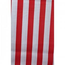 Bílá bavlna červený proužek