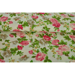 Smetanovožlutá bavlna s růžemi