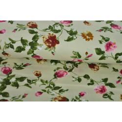 Krémová bavlna s růžemi