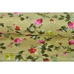 Béžová bavlna s růžemi