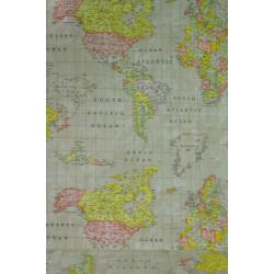Bavlna s mapou světa,...