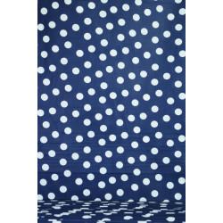 Modrá bavlna s bílým puntíkem