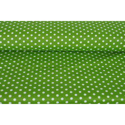 Zelená bavlna s bílým puntíkem
