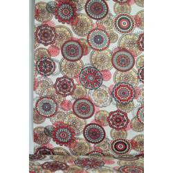 Bavlna červená mandala