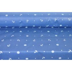 Bavlna tmavě modrá s kotvami