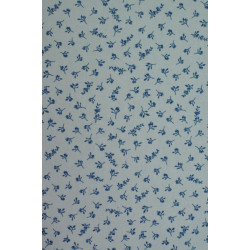 Bílá bavlna s modrým kvítkem