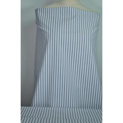 Bílý popelín s šedým proužkem